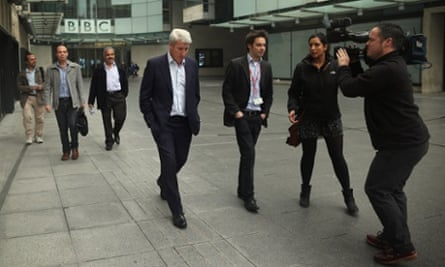 In the news: the BBC's Newsnight presenter Jeremy Paxman leaves BBC Broadcasting House in London.