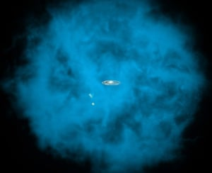 A month in Space: An enormous halo of hot gas (in blue) around the Milky Way galaxy