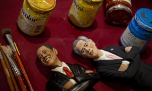 Figurines of Barack Obama and Mitt Romney created by Italian artist Genny Di Virgilio in Naples, Italy.