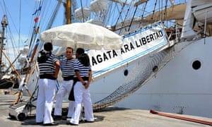 Members of the ARA Libertad's crew in Tema harbour, Ghana