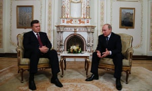 Welcome back to the Russo-sphere: Russian President Vladimir Putin (R) talks to his Ukrainian counterpart Viktor Yanukovych (L) at the Novo-Ogaryovo residence outside Moscow. The talks focused on economic cooperation. Photograph: Sergey Ponomarev/Pool/EPA