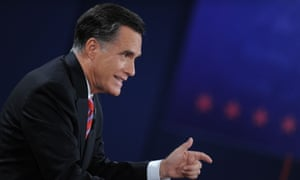 Republican presidential candidate Mitt Romney debates at the start of the third presidential debate at Lynn University in Boca Raton, Florida.