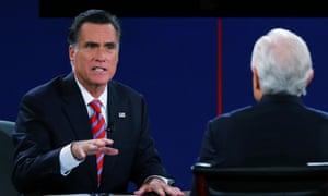 Mitt Romney makes a forceful point at the final presidential debate.