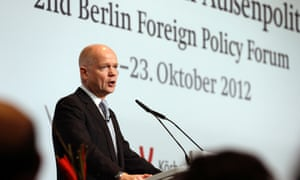 William Hague giving a speech on Europe in Berlin