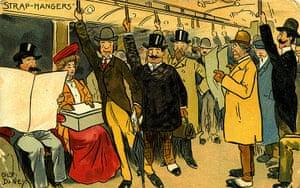 Underground book: Comic colour 'strap-hangers' postcard