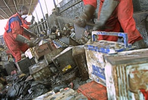 Toxic pollution: Old batteries are broken to extract lead components