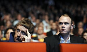British cyclists Bradley Wiggins and Chris Froome attend the unveiling of the 2013 cycling classic Tour de France route in Paris. The 100th edition of the Tour will take place from June 29 to July 21 and will start in Corsica for the first time in its history.