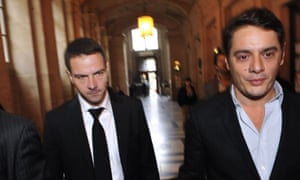 French rogue trader Jerome Kerviel, left, with his lawyer David Koubbi arrives at the Paris court, that was due to rule on his appeal for acquittal in a fraud case that cost Societe Generale bank 4.9 billion euros.