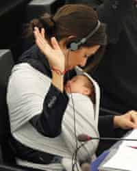 Italy's MEP Ronzulli takes part with her baby