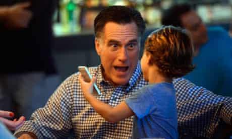 Mitt Romney talks with grandson Miles