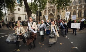 as hundreds of women from around the UK congregated in Westminster to attend the rally.
