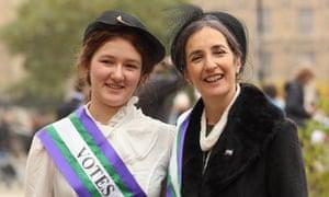 Dr Helen Pankhurst, granddaughter of Emmeline Pankhurst and her daughter Laura Pankhurst also join campaigners.