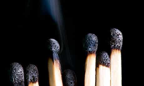Black matches with smoke