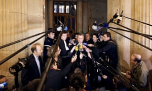 French Jean Veil, lawyer of the French bank Societe Generale, answers journalists' questions at the Paris courthouse following the rejection of the appeal of trader Jerome Kerviel.