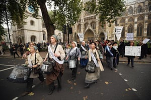 Sufragette march: Women from around the UK congregated in Westminster