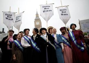 Sufragette march: Feminist activists protest at Parliament Square