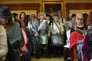 Sufragette march: Campaigners, some dressed as suffragettes, attend a rally