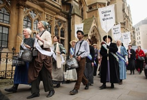 Sufragette march: Campaigners drum through Westminster