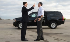 US Republican Presidential candidate Mitt Romney bids farewell his running mate Paul Ryan prior to boarding his campaign plane at Denver International airport in Denver, Colorado.