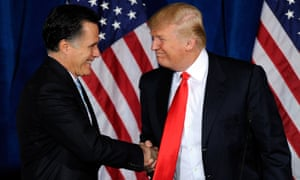 LAS VEGAS, NV - FEBRUARY 02:  Republican presidential candidate, former Massachusetts Gov. Mitt Romney (L) and Donald Trump shake hands during a news conference held by Trump to endorse Romney for president at the Trump International Hotel & Tower Las Vegas February 2, 2012 in Las Vegas, Nevada.