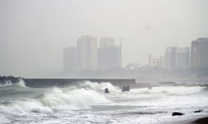 Big waves caused by hurricane Sandy along the south coast of Santo Domingo.