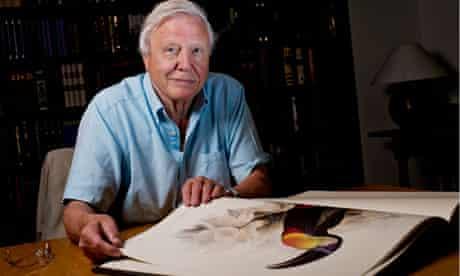 David Attenborough with Lear birds book