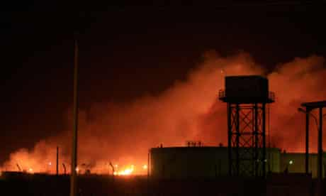 Yarmouk arms factory on fire