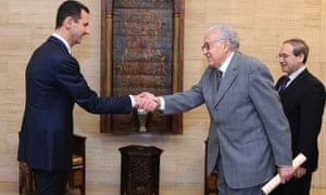 International envoy Lakhdar Brahimi met Syrian president Bashar al-Assad on Sunday as part of his attempts to broker an ceasefire during the Eid al-Adha holiday.