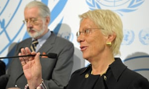 Carla Del Ponte, member of the UN's commission of Inquiry on Syria and Paulo Pinheiro head of the team, at a press conference in Geneva.