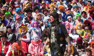 Massed clowns pose for a photo during the 17th Clown international convention in Mexico City. The convention attracted over 1,000 clowns from across the world in different events for four days.