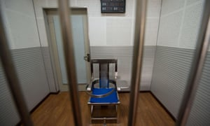 A restraining chair in an interview room inside the No.1 Detention Centre