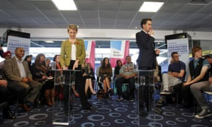 Ed Miliband and shadow home secretary Yvette Cooper launch Labour's police and crime commissioner election campaign at the Deepdale Stadium in Preston, Lancashire.