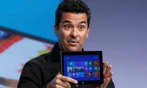 Michael Angiulo, corporate vice president of Windows planning, hardware & PC ecosystem at Microsoft, shows its Surface tablet.