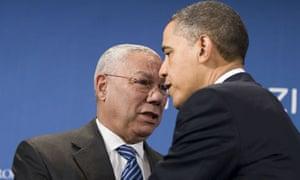 Barack Obama greeting Colin Powell, 2010
