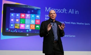 Microsoft CEO Steve Ballmer speaks at  the launch event of Windows 8 operating system in New York.
