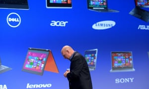Microsoft CEO Steve Ballmer walks off the stage after the launch of the Windows 8 operating system in New York.