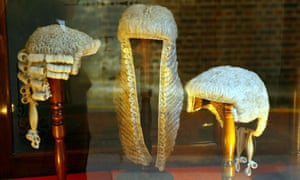 Barrister's wigs in a shop window