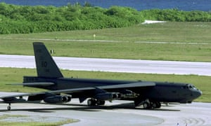 A US bomber on the tarmac at the UK's Diego Garcia airbase