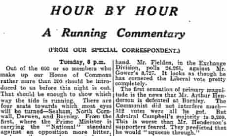 The Guardian's 'hour by hour' coverage of the 1931 election