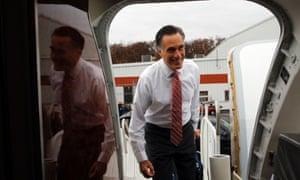 Republican presidential nominee Mitt Romney boards his campaign plane in Toledo, Ohio.