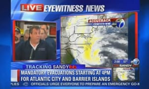 New Jersey Governor Chris Christie holds a press conference on Hurricane Sandy in a grab from ABC local TV.