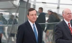 Head of the ECB, Mario Draghi on the roof of the Reichstag Building with President of Bundestag Norbert Lammert.