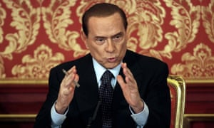 Former Italian premier Silvio Berlusconi talks to media during his press conference at 'Villa Gernetto' in Gerno di Lesmo,  Monza, 27 October 2012