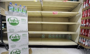 Most of the emergency rations of water delivered to a Gristedes grocery store on York Avenue on the Upper East Side the previous day have gone already as New York residents are stocking up to prepare for the arrival of Hurricane Sandy.