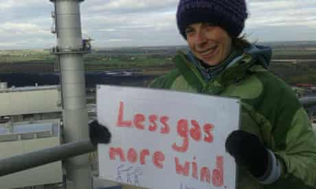A climate protestor atop West Burton gas power station