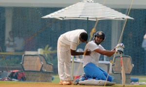 India A cricketer Yuvraj Singh is checked after he was hit by a ball in the nets during a training session at the Cricket Club of India (CCI) in Mumbai.  The England cricket team, who are to play a four Test series against India from November 15, will play a three day practice match against India A.