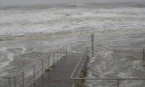 The beach in Ocean City, Maryland, as Sandy draws near.