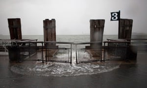 And rising waters break the banks at Battery Park .