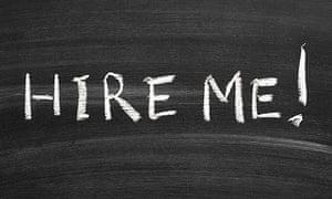 hire me message handwritten on blackboard