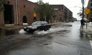 Flooding around Fairway market in Red Hook, Brooklyn as Sandy approaches.